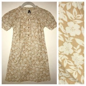 Old Navy corduroy dress, cream & tan floral print
